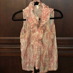 JCrew sleeveless pink paisley blouse
